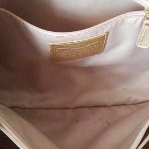 Coach Bags - Coach signature tote gold leather trim